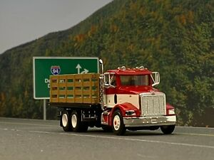 1/64 SPECCAST RED/WHITE PETERBILT 385 STAKE BED TRUCK