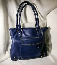 "Wilsons Leather ""Black Rivet"" Womens Large Royal Blue Handbag, Purse, Tote,"