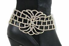 Fancy Bling Flower Charm Dressy Strap Women Boot Bracelet Gold Metal Shoe Silver