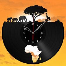 Africa, Giraffe, Elephant Vinyl Record Wall Clock, Animals 12'' (30cm)