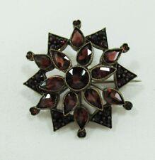 G/W on Sterling and Garnet Flower or Starburst Pin / Brooch Antique/Vintage