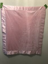Pink Baby Blanket Blankie Security Plush W Satin Trim Other Side All Satin
