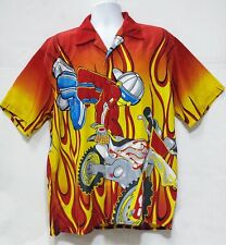 Freestyle Motocross Shirt Large Short Sleeve Button Up Moto Men's Flames
