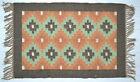 Kilim Rug Wool Indien 60x90cm 2x3' Kelim Orange Green Handmade Style MEXICO