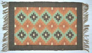 Kilim Rug Wool Indian 60x90cm 2x3' Kelim Orange Green Handmade Style MEXICO