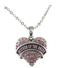 Mother of the Bride Pink Crystal Heart Silver Necklace Jewelry Wedding Gift