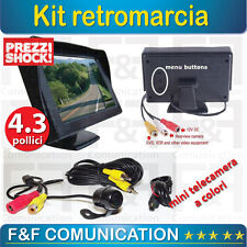 KIT MONITOR 4.3 POLLICI TELECAMERA RETROCAMERA CAMERA CCD RETROMARCIA AUTO
