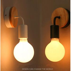 Indoor Wall Sconce Light Bedroom Lamp Kitchen Parlor Wood Wall Lighting 85-265V