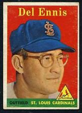 1958 Topps Yellow Name Letters #60 Del Ennis St Louis NO Creases