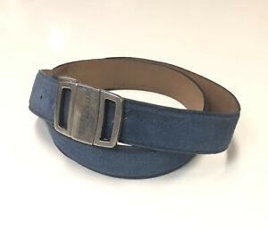 Salvatore Ferragamo™ Vara-Bow Silver-Tone Logo Buckle w/ Blue Suede Belt -Sz. 38