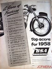 1958 B.S.A. Motor Cycles ADVERT - Vintage Original Print AD