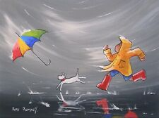 Pete Rumney Art Painting Dont Lose Your Brolly Windy Day Fun Handpainted Artwork