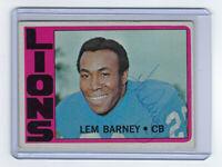 1972 LIONS Lem Barney signed card Topps #42 AUTO Autographed Detroit HOFer
