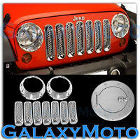 Chrome Headlight+Front Mesh Grille+Gas w/Locking Cover for 07-17 Jeep Wrangler J