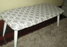 Vintage eames era style bench grey and white recovered
