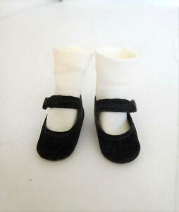 """Vintage Madame Alexander Black Side Snap Shoes & White Socks for 12"""" Doll"""