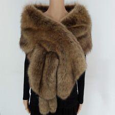 Bridal Wedding Shrug Scarf Shawl Stole Wrap Faux Fur Cape Long Warm Elegant Lady