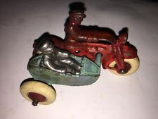 """Hubley 4"""" Cast Iron Motorcycle COP w Side Car White Rubber Tires"""