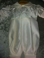 Baby boy ivory occasion party fancy romper christening 56cm newborn bnwt