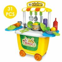 Portable Trolley Children Kids Kitchen Cooking Girls Toy Cooker Play Set Gift 3+