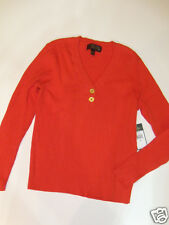 NWT Womens Ralph Lauren Orange V Neck Sweater XL NEW Ribbed