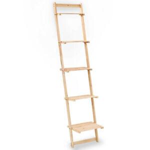 Wall Shelf Ladder Design Planter Rack Display Storage Stand Cedar Wood Beige