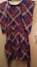 PURE SILK Warehouse dress Kaftan sleeves side pockets puffball hem size 12