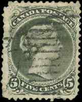 Canada #26 used F-VF 1868 Queen Victoria 5c olive green Large Queen CV$200.00