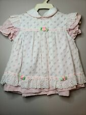 Vintage dress two pcs 6-9 months. Pink and white rose buds. Amazing condition.