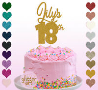 Personalised Custom Glitter 18th Birthday Cake Topper Any Name Age 16 18 21 30