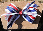 Personalized Embroidered Red White and Blue Oversized Patriotic Girl's Hair Bow