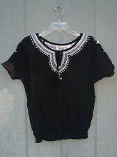 New New Direction Top Black White Embroidery Tie Tassels Elastic Bottom Size S
