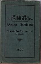 Cantante 16 Hp Super Seis Cilindros 1920cc Original Del Propietario Manual 1930 Incompleta
