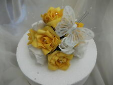 WEDDING FLOWER CAKE TOPPER,YELLOW & WHITE WITH WHITE BUTTERFLY