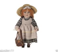 Muñeca de porcelana campesina, 30 cm. con soporte Margherita  BAM002