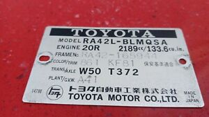 75–80Toyota HiluxToyota Celica Corona toyota stout engine label 2.2L 20R