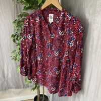 MANTARAY Red Multicolour Floral Print SIZE 12 UK Turn Up Sleeves Button Up Tunic