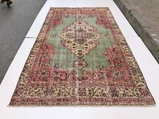 VINTAGE TURKISH OUSHAK RUG WITH TRIBAL MEDALLION STYLE ,DISTRESSED LOW PILE RUG