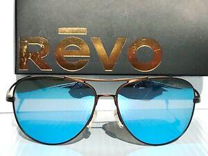 NEW* REVO Windspeed BRONZE 61mm AVIATOR POLARIZED Blue lens Sunglass 3087 200 BL