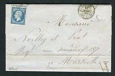 Rare lettre de Bastia ( Corse 1860 ) - Cachet Maritime BASTIA BAT A VAP