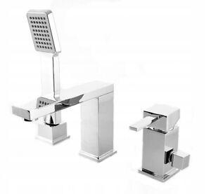 Bath Mixer Tap Faucet Bathtub Bathroom Hand Held Shower Head 3-Hole Tub Tap 49