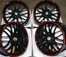 """CERCHI IN LEGA 17"""" nero rosso moto per 5X100 Seat Ibiza Leon Skoda Fabia"""