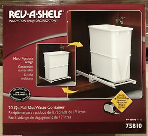 Rev-A-Shelf•20 Quart•Pull-Out Waste Container•Model RV-8PB-5•White