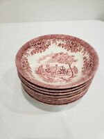 Set of 8 Churchill Pottery England The Brook Red Soup Cereal Bowls