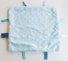 Baby Boy Blue Ribbon Tags Tab Minky Dot Sensory Security Blanket Lovey Handmade