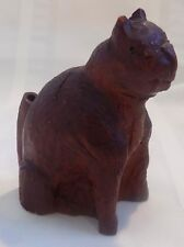 ANTIQUE Country PRIMITIVE Whimsy Hand Carved Cat