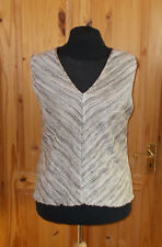 COUNTRY CASUALS black oatmeal beige stripe stretch vneck vest tunic top L+ 18-20