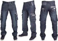 Mens New Enzo Dark Blue Wash Cargo Combat Style Denim Jeans Big Size 28-48