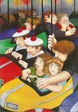 """Postcard Beryl Cook """"Bumper Cars"""" MINT"""