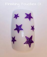 Nail Art Sticker- Glitter Star Decal #456 BLE- Purple Transfer Children Xmas